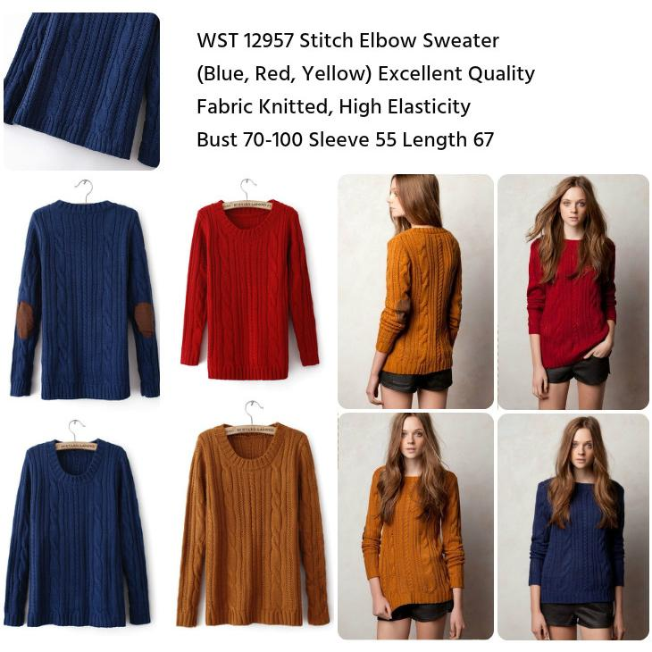 harga Stitch Elbow Sweater (BLUE,Yellow,Red)-12957 elevenia.co.id