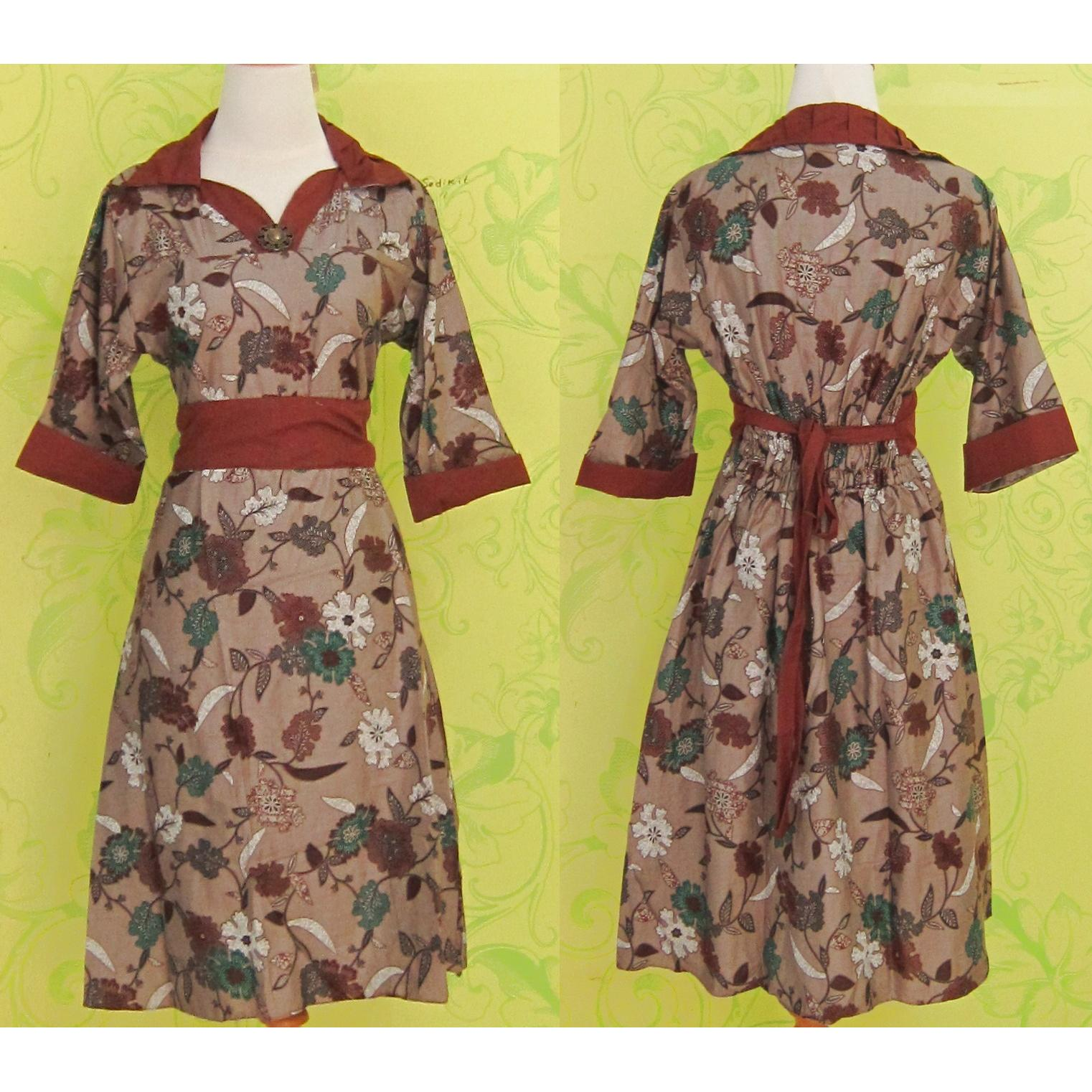 harga Dress Batik VIC COKLAT BUNGA elevenia.co.id