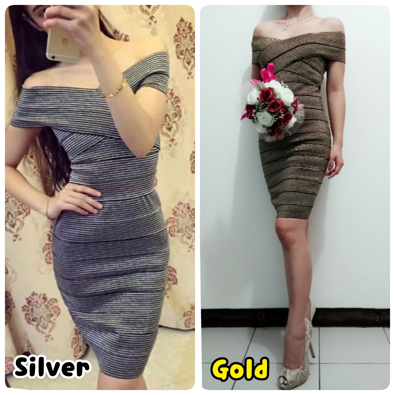 harga Dress Herve Leger Bandage Motif Salur Bodycon Sabrina Import Murah High Quality elevenia.co.id
