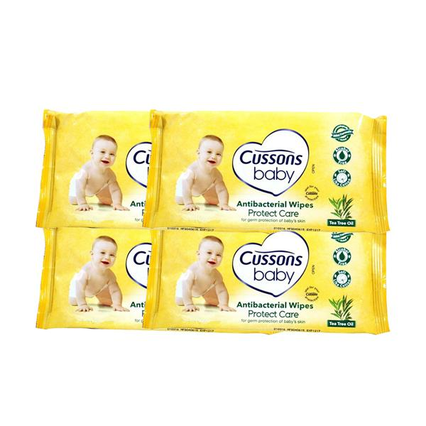 harga Cussons Baby Protect Care Antibacterial Baby Wipes Tisu Basah Bayi - 10 S - 4 Pcs elevenia.co.id