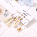 OILA anting set 6 pasang natural shell tassel daisy love earrings (3E3) jan197