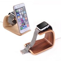 2 in 1 Charging Stand / Charging Dock for Apple Watch + iPhone Dock Samdi Real Wood Material