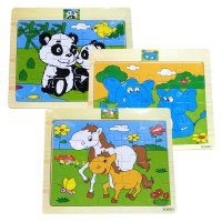 Jigsaw kayu mini Animal / mainan edukatif puzzle