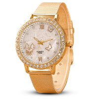 Women Ladies Crystal Butterfly Gold Stainless Steel Mesh Band Wrist Watch gold