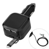 Charger Mobil With 2 Port USB and  2 in 1 Retractable Kabel Micro USB-iPhone Max 4.8A