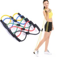 Resistance Band Arms Tali Stretching Yoga Fitness Wanita Exercises Gym - Hitam