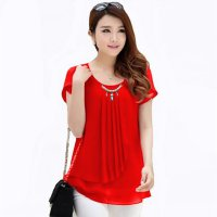 Korean style blus with pearl necklace short sleeve