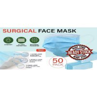 Masker 3ply surgical face mask earloop disposable 1 box isi 50pcs
