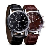 [FREE ONGKIR] New Unisex Leather Stainless Steel Dial Quartz Wrist Watch