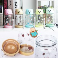 Botol Minum Animal Diller + Cover / Botol Karakter Kaca / Souvenir Ulang Tahun / Drinking Bottle / Glass Bottle / Water Bottle Bear