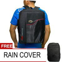 Polo National Essetial Pack Tas Ransel l BackpackFree Rain Cover - Hitam