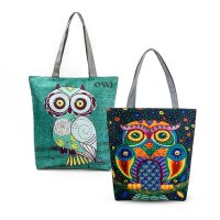 TC04 Civeto Printed Canvas Tote Bag Owl and friend / Tas Selempang