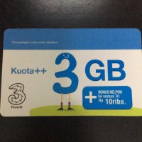 TRI VOUCHER PAKET DATA INTERNET ++ 3GB 3G BONUS 6GB 4G