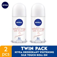 NIVEA Deodorant Whitening Silk Touch Roll On 50ml - Twin Pack