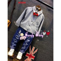 STELAN ANAK CAND BABY KEMEJA STRIPE + RIPPED PANTS (RSBY-2524)