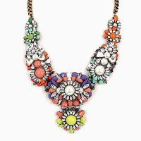 Kalung Korea Import Forever21 Mix Flower Pearl Decorated Statement Nec