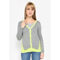 Mobile Power Ladies Twist Colour Light Cardigan Knitting - Grey Green MR307