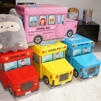 Kotak Mainan Toy Box Bus cartoon storage cloth organizer tempat mainan kotak serbaguna