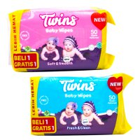 Twins Baby Wipes Smooth & Fresh 50s - Buy 1 Get 1