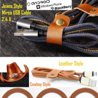 Branded Retro Leather Jeans Style Aluminum Kabel Data Sync Micro Usb Cable 1M