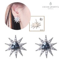 Korea Cocoa Jewelry Clear Star Ice - Anting Silver Color - No Box