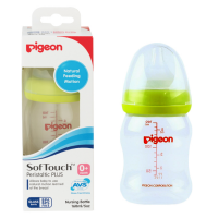 PIGEON PP BOTTLE WIDE NECK WITH PERISTALTIC PLUS NIPPLE/ BOTOL SUSU DOT 160ML