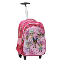 Tas Trolley Anak SD Gagang Stainless - LOL Berlima 5D - 3 Kantung IMPORT