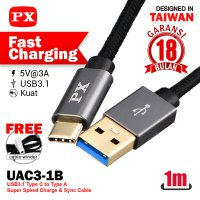 Fast Charging Type A-C 3.1 3A Kabel USB&Charger 1m PX UAC3-1B Hitam