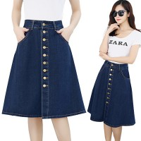 KOREAN STYLE ★ Gloria Denim Skirt(#6072)/Rok wanita kancing/Rok jeans/Rok midi denim