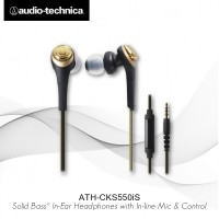 Audio Technica ATH-CKS550iS BK Ear Earphones - Gold