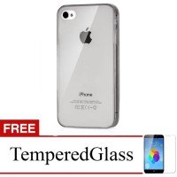 Case for iPhone 5s-5 - Abu-abu + Gratis Tempered Glass - Ultra Thin Soft Case