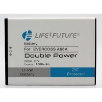 Baterai Battery Double Dobel Power  Life Future LF  Evercross Cross Elevate Y A66A A-66A  1800Mah