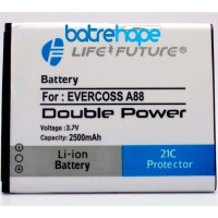 Baterai Battery Double Dobel power  Life Future LF Evercross Cross A88  2500Mah