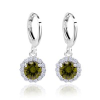 Anting 18k White Gold Filled Green Peridot Round Shaped Dangling Earrings