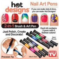 Nail Art Pens and Brush 2 in 1 〇 Kutek kuku dengan ujung pen dan kuas 2in1