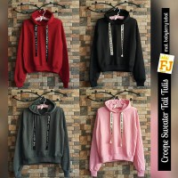 Sweater Wanita Crop Tali Tulis (sweater lucu, sweater murah, sweater terbaru, sweater unik, blazer)