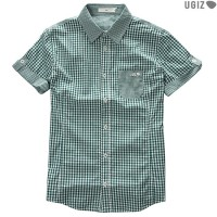 Uni check pattern roll-up shirts GN (UBST704)