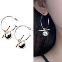 Hollow Large Ring Earrings - Silver