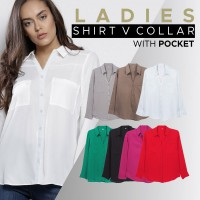 NEW ITEM // LADIES SHIRT V COLLAR // 7 Warna // Office // Casual // Good Material // Kemeja Wanita
