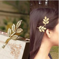 Gold Olive Branch Leaf Hairpin