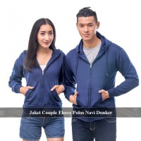 2 PCS JAKET - JAKET COUPLE FLEECE MURAH| PUSAT HOODIE ZIPPER POLOS| JAKET SELETING FLECE NAVI &HITAM