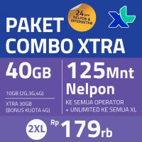 Paket COMBO XTRA 40GB, 30hr, Rp179rb