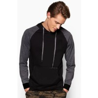 VM Jaket Sweater Reglan Fleece Abu Kombinasi
