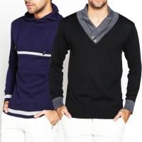 VM Sweater Rajut Panjang - Sweater Fashion High Neck Kombinasi - Long Knitt Sweater