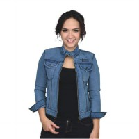 Catenzo Jaket Jeans Blue Denim Kasual Wanita BE053