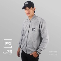 JAKET SWEATER - PREMIUM FLEECE - FV2 - FLOP VARSITY GREY