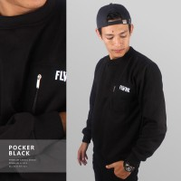 JAKET SWEATER - PREMIUM FLEECE - POCKER CASUAL BLACK