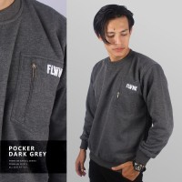 JAKET SWEATER - PREMIUM FLEECE - POCKER CASUAL DARK GREY