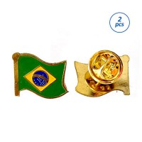 Mulyocreative Pin Bendera Brazil - Flag Pin Brazil [2 Pcs]