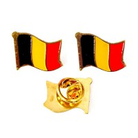 Mulyocreative Belgium Belgia Pin Bendera [2 pcs]